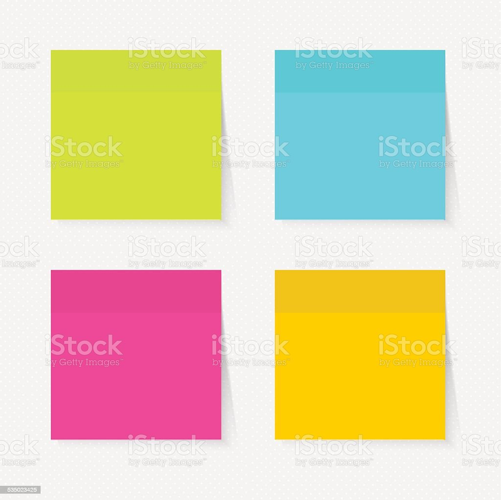 Color sticky notes set vector illustration vector art illustration