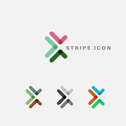 color stripe label icon template collection