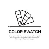 Color Swatch Vector Line Icon - Simple Thin Line Icon, Premium Quality Design Element