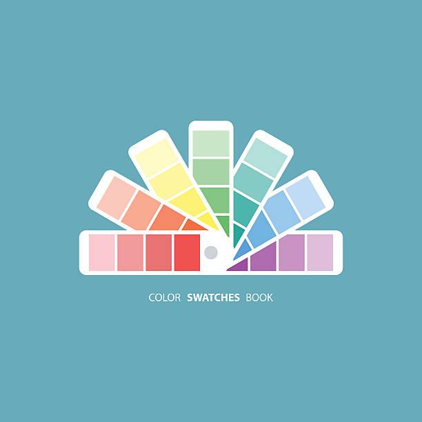 stockillustraties, clipart, cartoons en iconen met color swatches book. color palette guide - kleurenwaaier