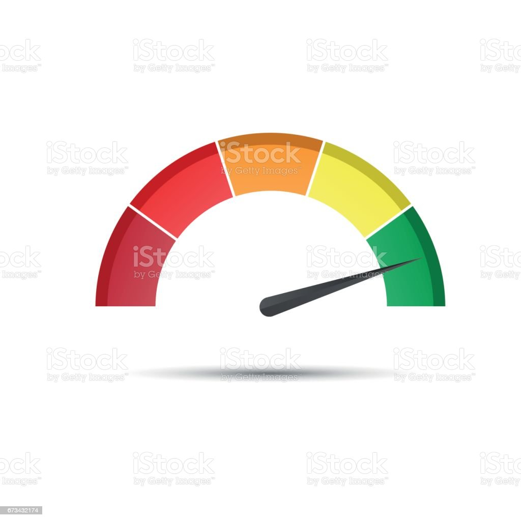 Color tachometer with a pointer in the green part, speedometer and performance measurement icon vector art illustration