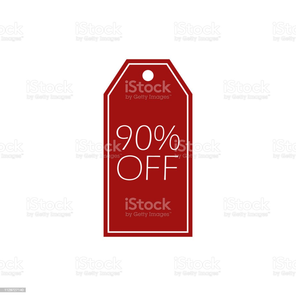 color tag discount 90% big sale icon. Element of discount tag. Premium quality graphic design icon. Signs and symbols collection icon for websites, web design, mobile app