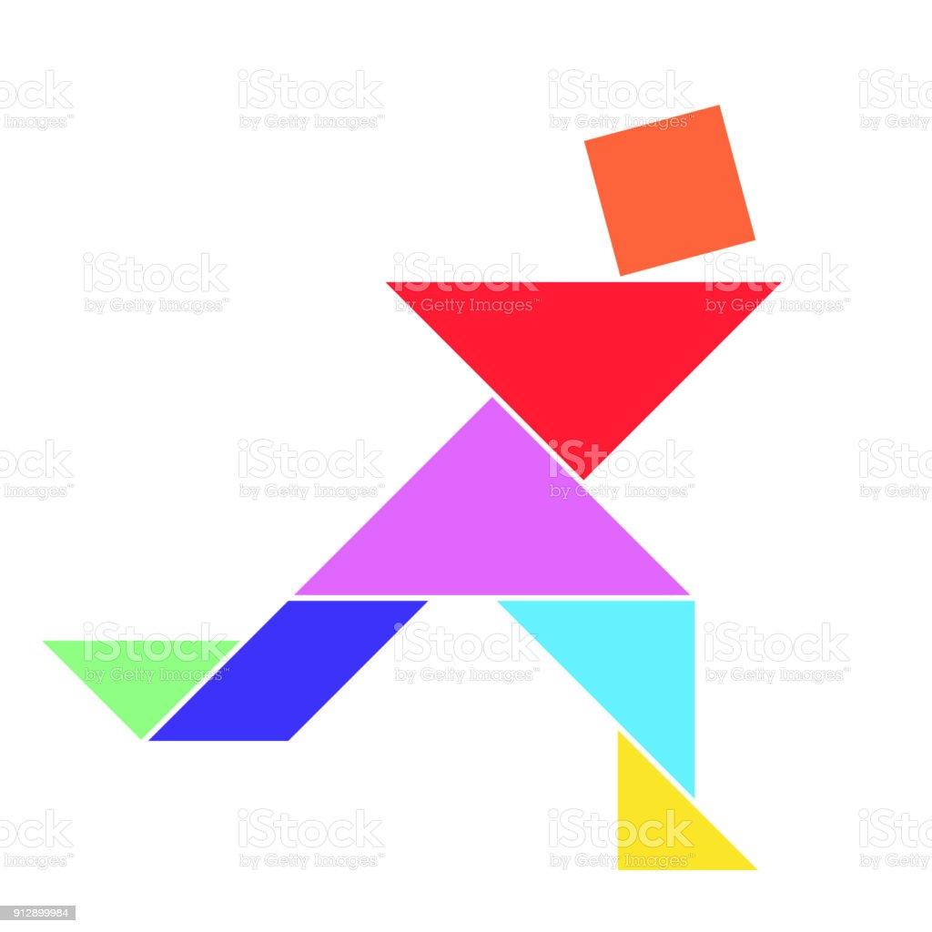 People Silhouette Tangram Card #3 | Geometric shapes art, Tangram, Tangram  patterns