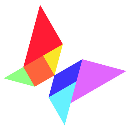 Color tangram in  shape on whtie background (Vector)