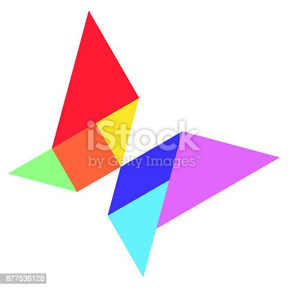 istock Color tangram in  shape on whtie background (Vector) 877536128