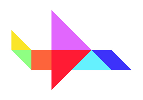 Color tangram puzzle in airplane shape on white background (Vector)