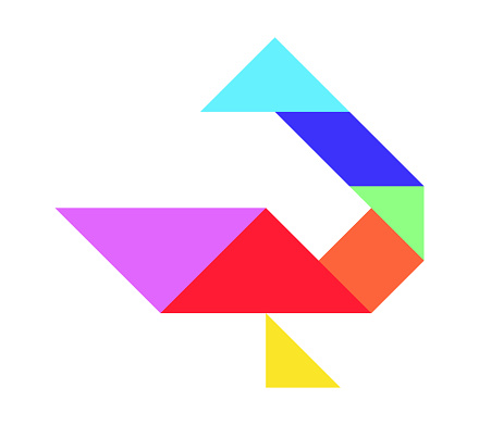Color tangram puzzle in bird (duck, goose, swan) shape on white background