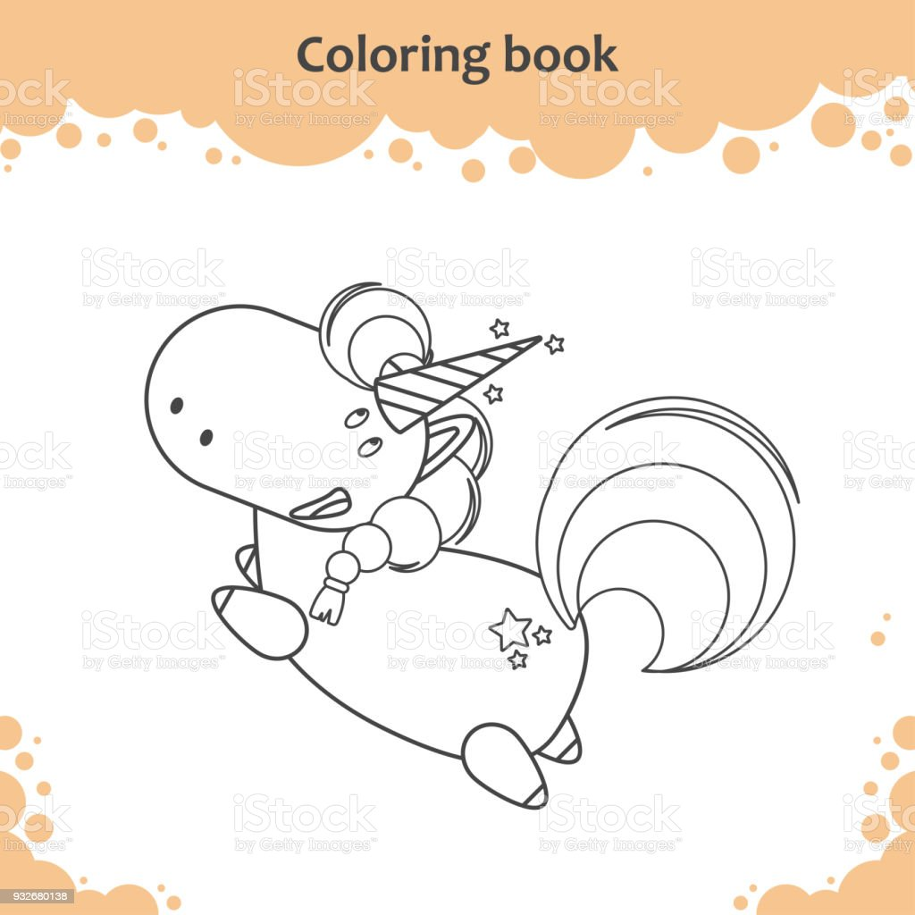 Color The Cute Cartoon Little Flying Unicorn