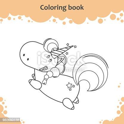 Ilustración de Color De Dibujos Animados Lindo Unicornio Poco Vuelo ...
