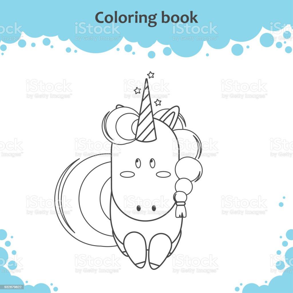 Ilustración de Color De Dibujos Animados Lindo Unicornio Poco Página ...