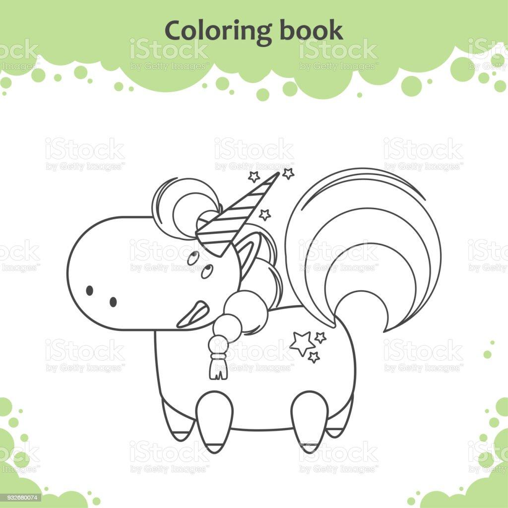 Ilustración De Color De Dibujos Animados Lindo Unicornio Poco Página
