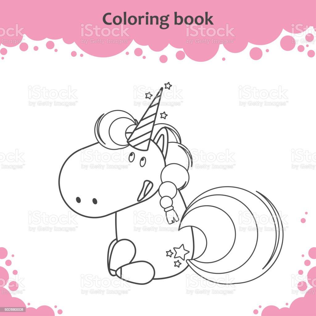 Ilustración de Color Del Unicornio De Estar Linda De La Historieta ...
