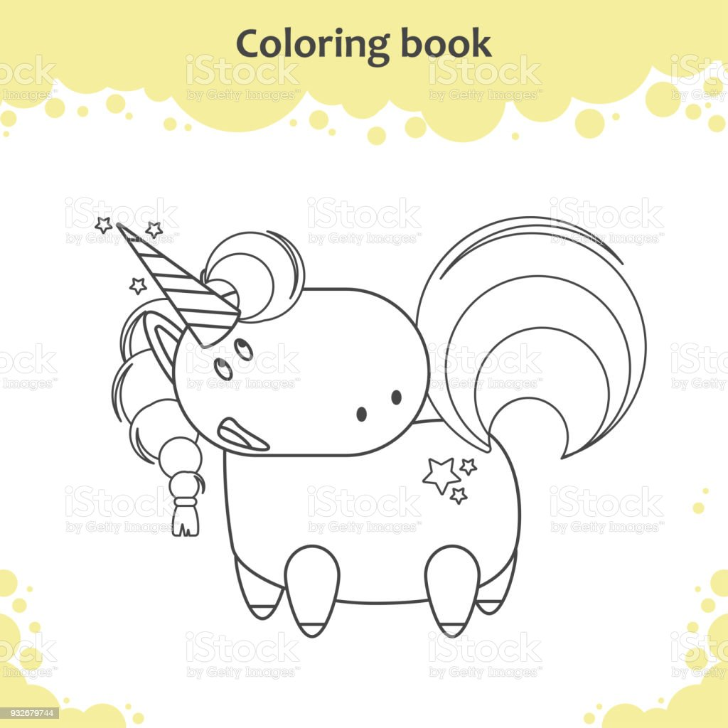 Color The Cute Cartoon Unicorn Coloring Page For Kids Stock Vector ...