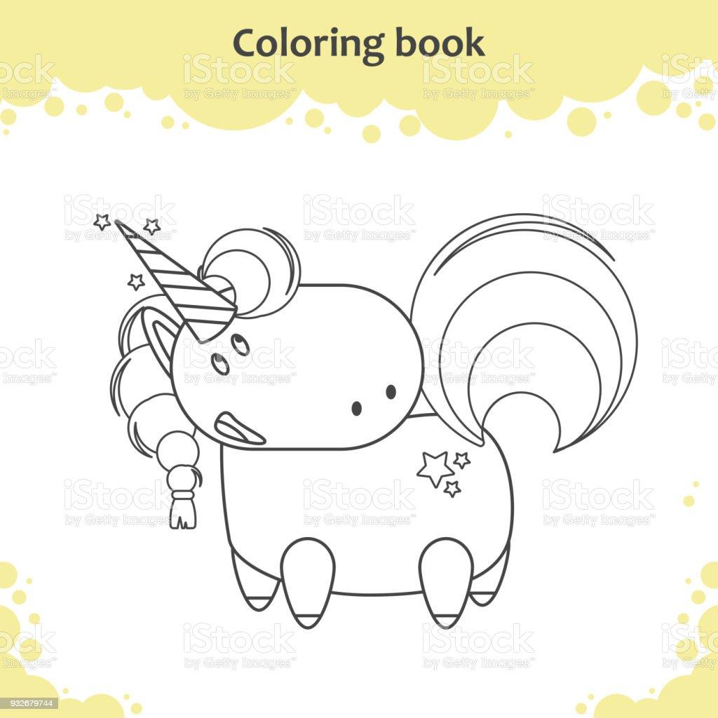 Ilustración De Color Del Unicornio De Dibujos Animados Página Para