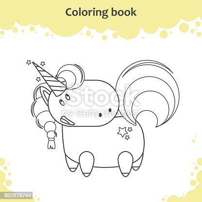 Ilustración de Color Del Unicornio De Dibujos Animados Página Para ...