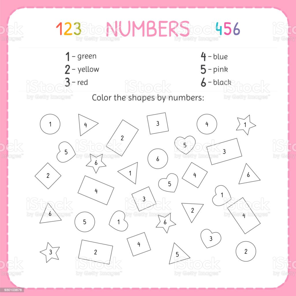 Color The Shapes By Numbers Worksheet For Kindergarten And ...