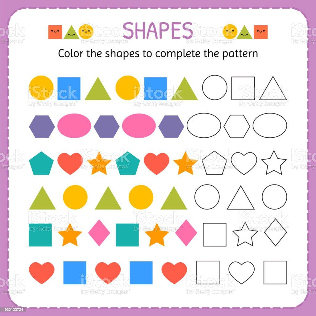 Ilustracion De Color De Las Formas Para Completar El Patron