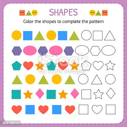 Ilustración de Color De Las Formas Para Completar El Patrón Aprender ...