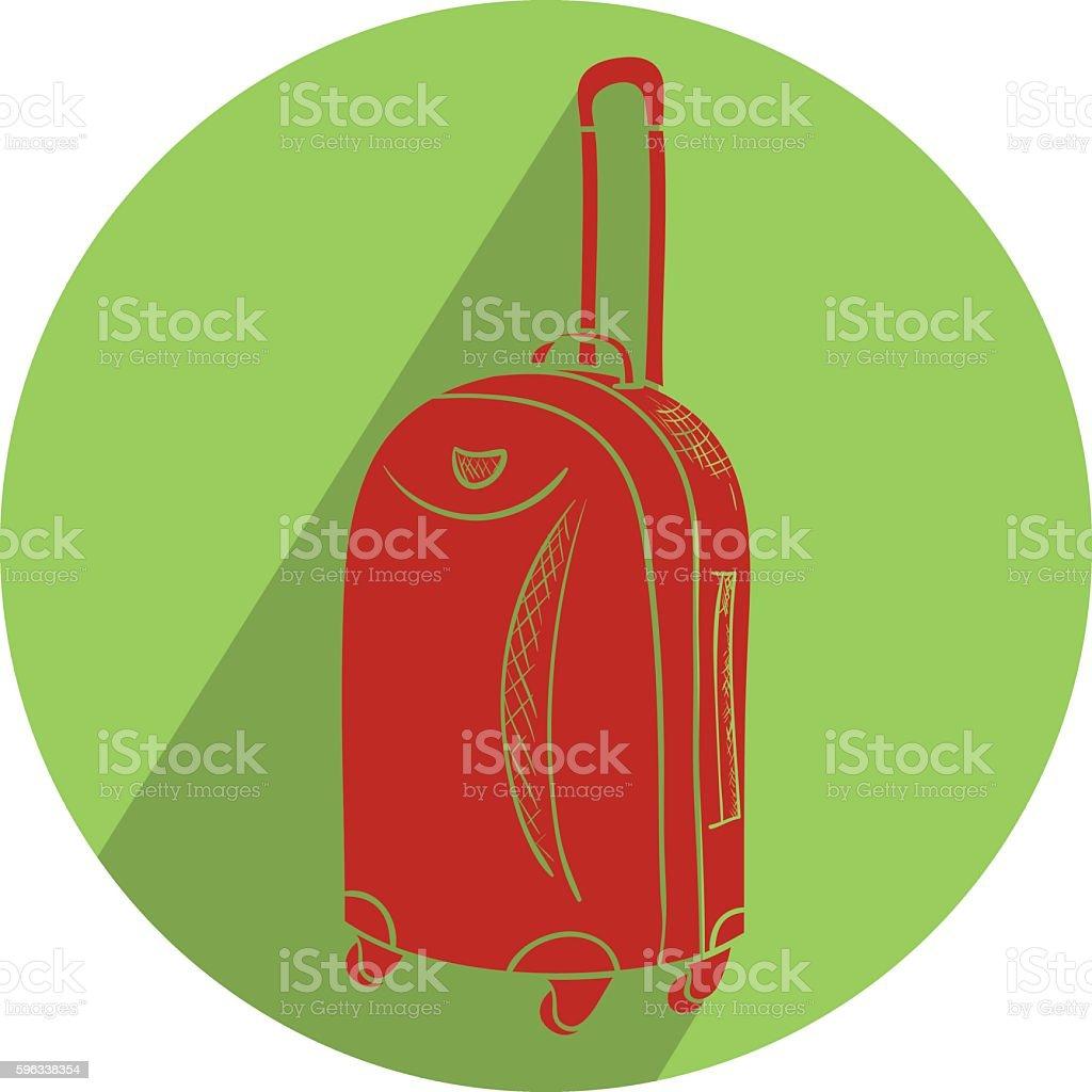 Farbe Reise Koffer mit Rädern realistische auf weißem Hintergrund. Lizenzfreies farbe reise koffer mit rädern realistische auf weißem hintergrund stock vektor art und mehr bilder von abenteuer
