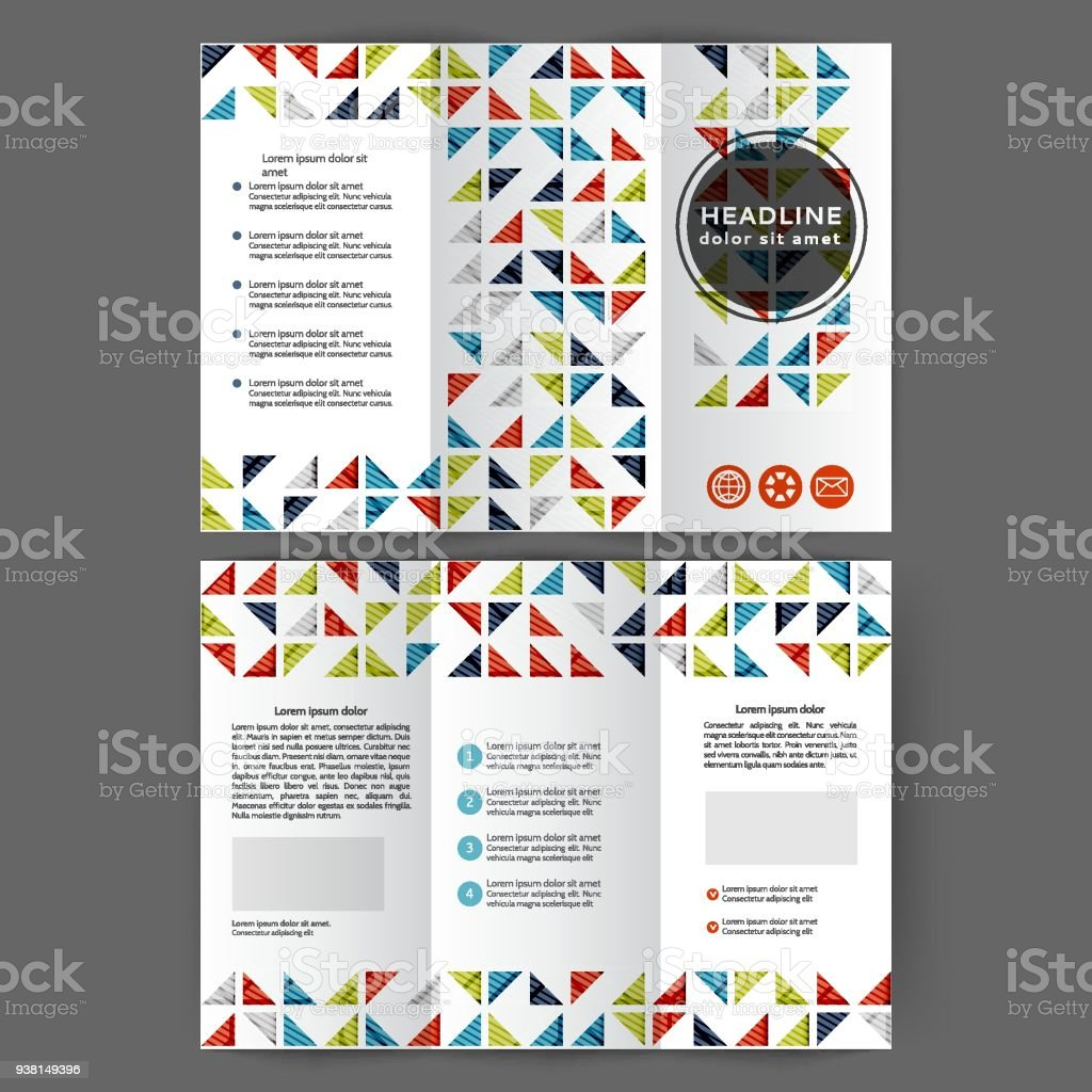 color tri fold business brochure stock vector art more images of