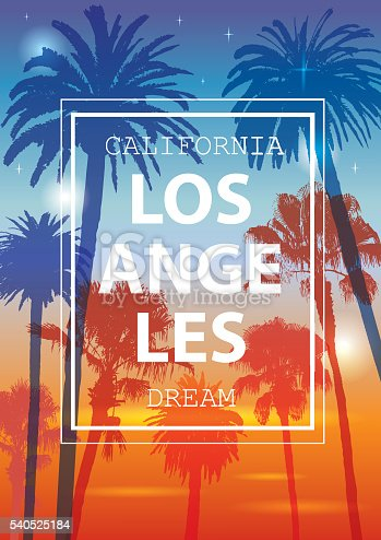 Ornament for T-Shirt. Summer Background for Tourism. Travel to California, Los Angeles.