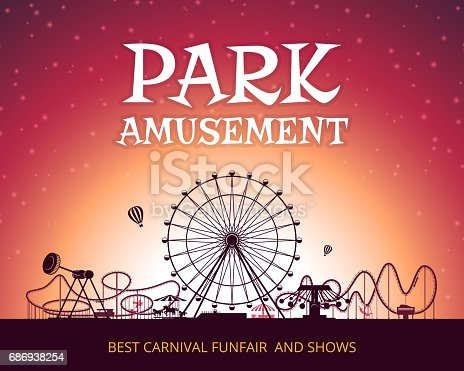 Color vector background of amusement park. Poster design with place for your text. Park carnival circus, funfair poster, amusement park banner illustration