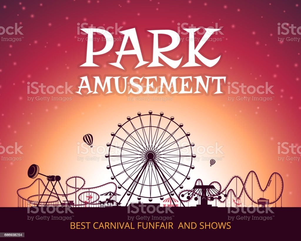 Color vector background of amusement park. Poster design with place for your text vector art illustration