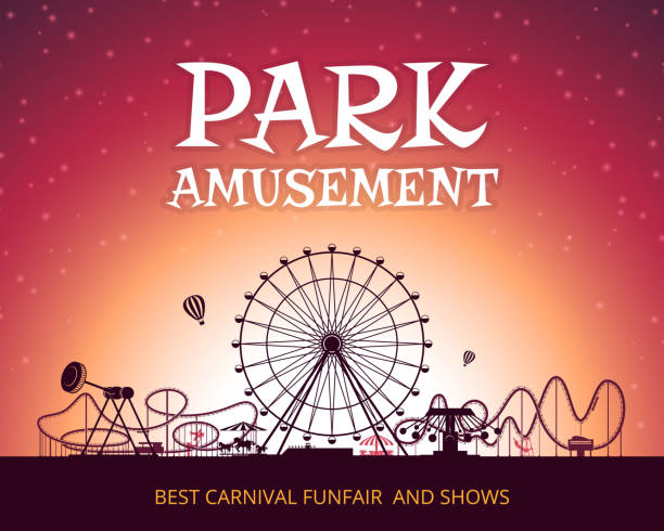 color vector background of amusement park. poster design with place for your text - roller coaster stock illustrations