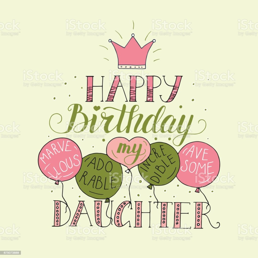 Color Vector Birthday Card For Daughter Unique Lettering Poster With