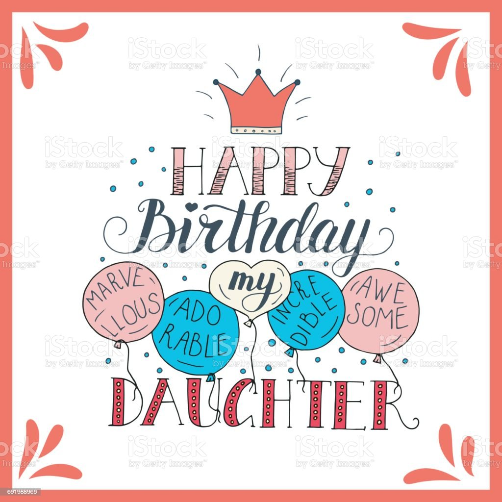 Color Vector Birthday Card For Daughter Stock Vector Art More