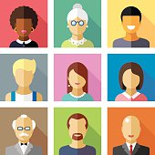 Color vector flat icon set and illustration different people character