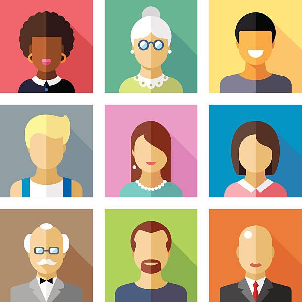 farbe vektor-flache icon-set und verschiedenen menschen zeichen illustration - kindergesichtsfarben stock-grafiken, -clipart, -cartoons und -symbole
