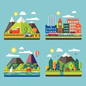 Color vector flat  illustrations urban and village landscapes: nature, mountains, lake, hay, deer, ship, vacation, sun, trees, house, mills, field, city, cars, skyscrapers