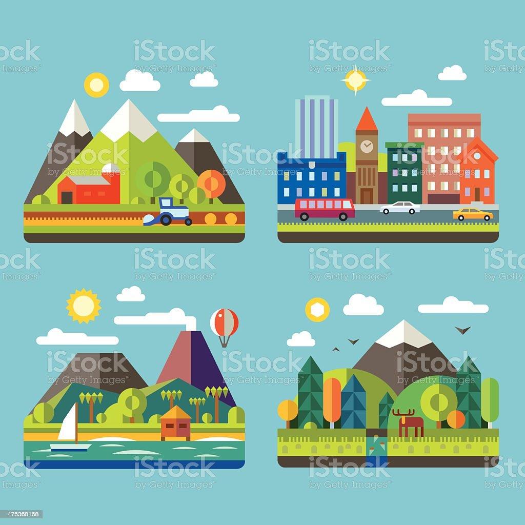 Color vector flat  illustrations urban and village landscapes vector art illustration