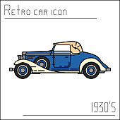 Color vector icon american auto oldtimer. Classic 1930s style. Nostalgia antique automobile. Summer travel vacation. Vintage cartoon sport car. Highway legends. Collection car. Illustration clipart.