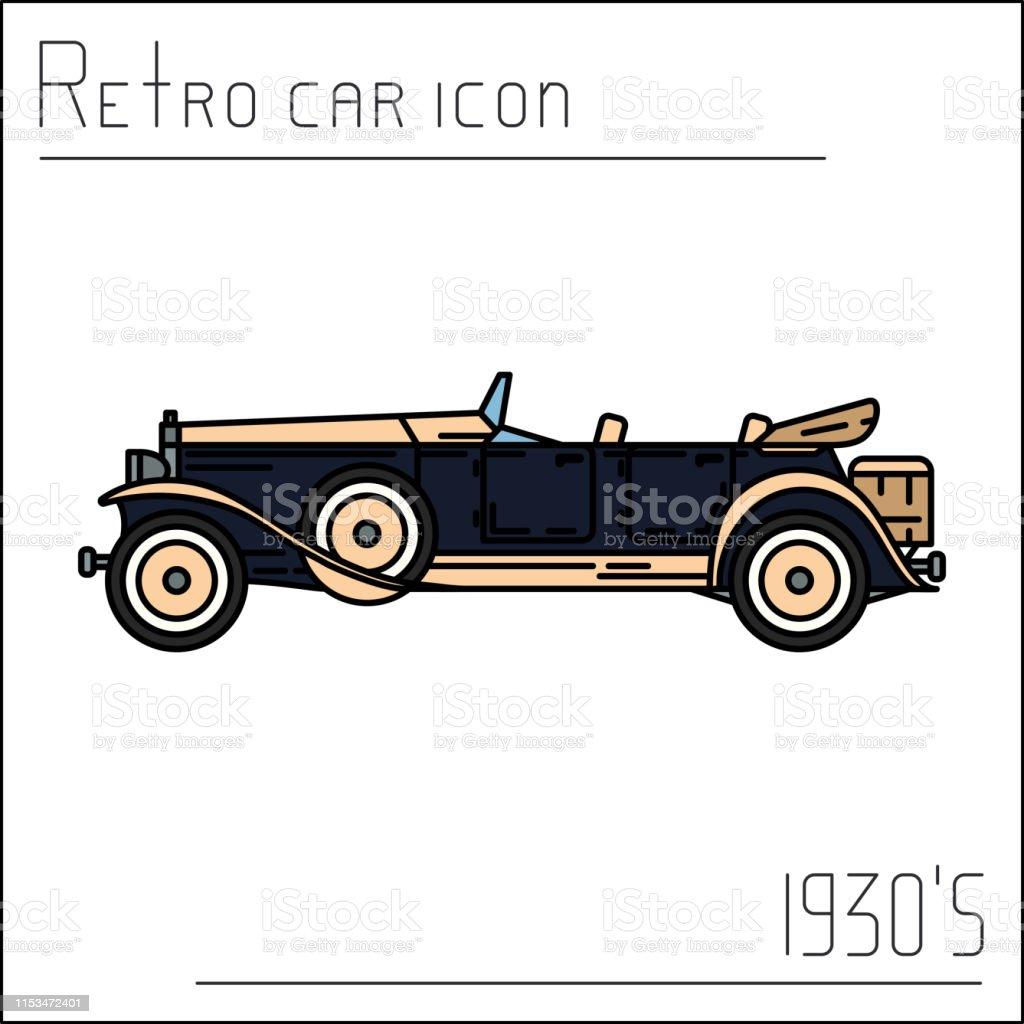 Vetores De Color Vector Icon American Auto Oldtimer Estilo Classico 1930 Automovel Antigo Da Nostalgia Ferias De Viagem De Verao Carro Desportivo Dos Desenhos Animados Do Vintage Estrada Garagem Carro Da Colecao