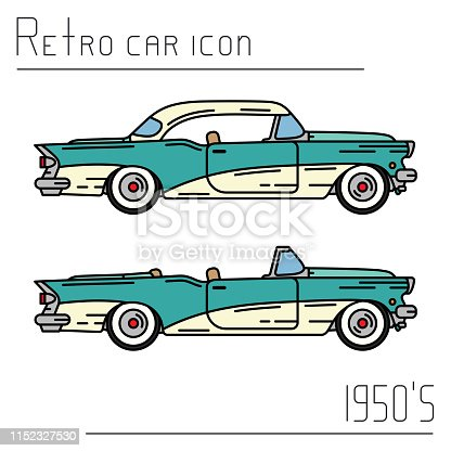 Color vector icon set american cabriolet auto oldtimer. Classic 1950s style. Nostalgia antique automobile. Summer travel vacation. Vintage sport car. Highway legends. Collection. Illustration clipart.