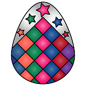 Color vector illustration of a white easter egg with a bright ornament in the form of colored rhombuses and stars. Volumetric image on an isolated background. Idea for sticker, book. Holiday print.