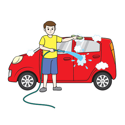 Color vector illustration of kids activity coloring book page with pictures of men doing housework by wash the car.