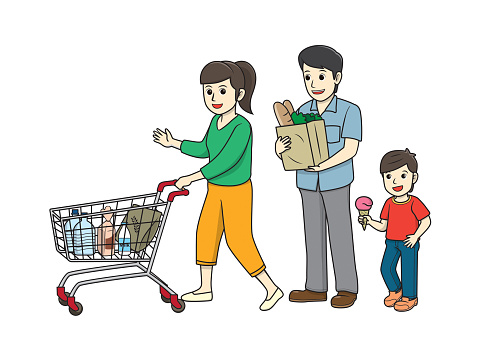 Color vector illustration of kids activity coloring book page with pictures of family doing by shopping.