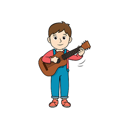 Color vector illustration of kids activity coloring book page with pictures of kids doing by play guitar.