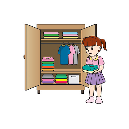 Color vector illustration of kids activity coloring book page with pictures of woman doing keeping cloth.