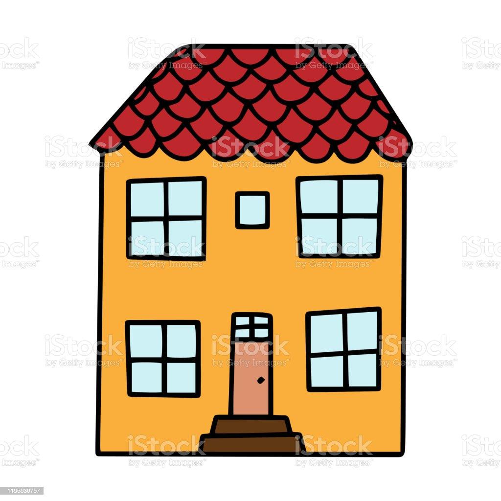 カートンスタイルでかわいい小さな家と色ベクトルのイラスト一連の色の家の一つ手で描く いたずら書きのベクターアート素材や画像を多数ご用意 Istock