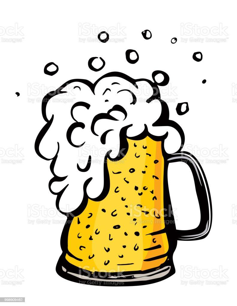 Färg Vektorbild Av Ett Ölglas Drick Med En Massa Skum Utkast Till Öl Tecknad Bild-vektorgrafik och fler bilder på Alkohol - iStock