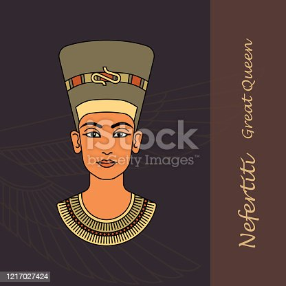 A color vector image of the queen of Egypt Nefertiti profile isolated on a background of the Egyptian symbols.