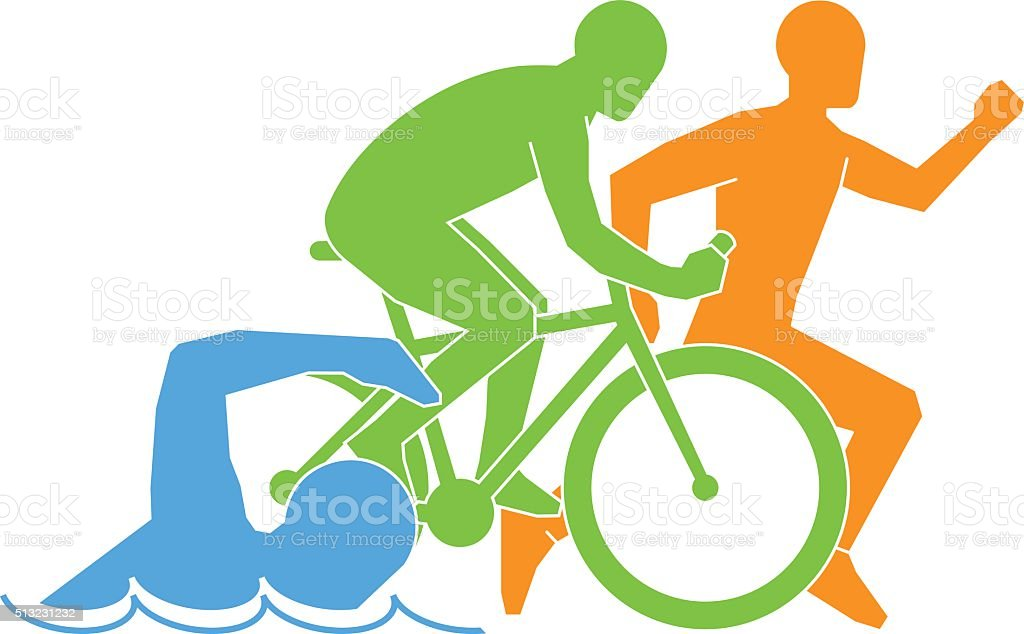 Color vector linear and flat logo triathlon. vector art illustration