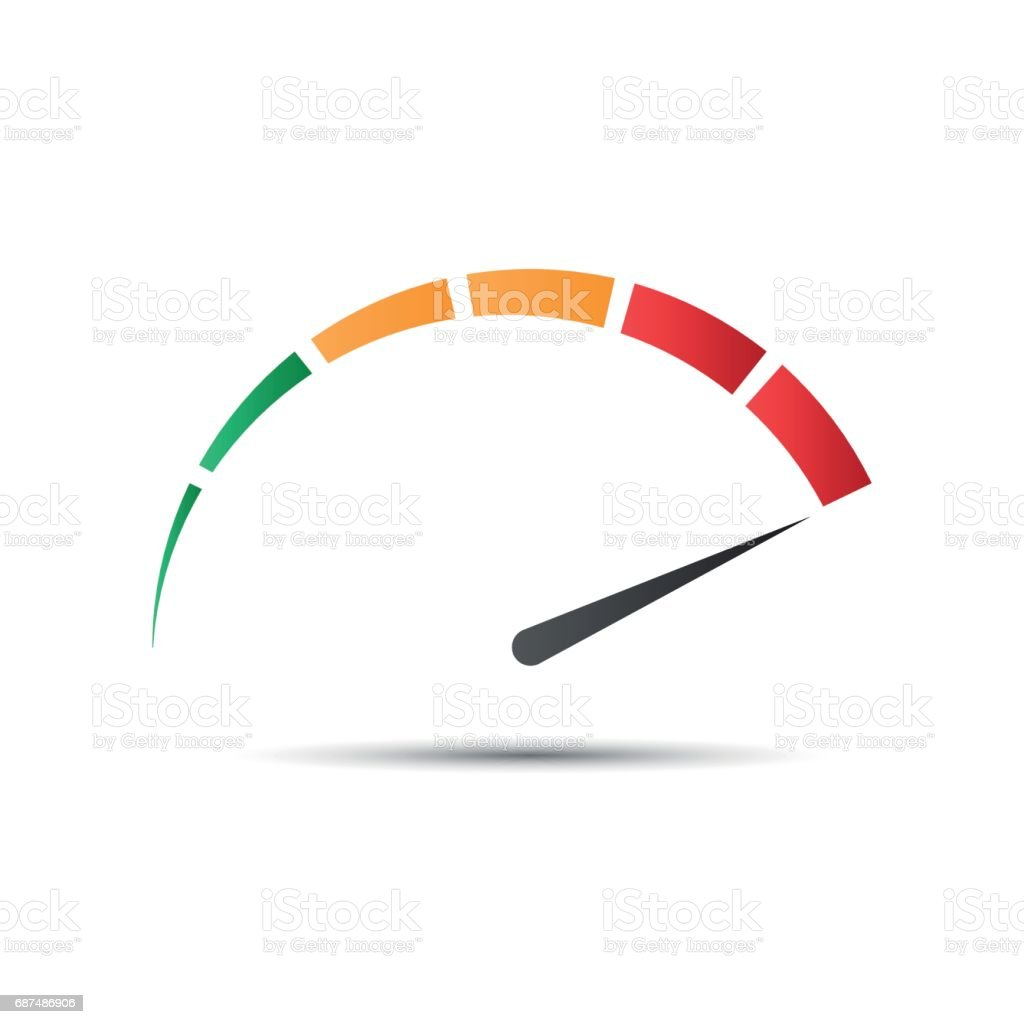 Color vector tachometer,  speedometer icon, performance measurement symbol vector art illustration