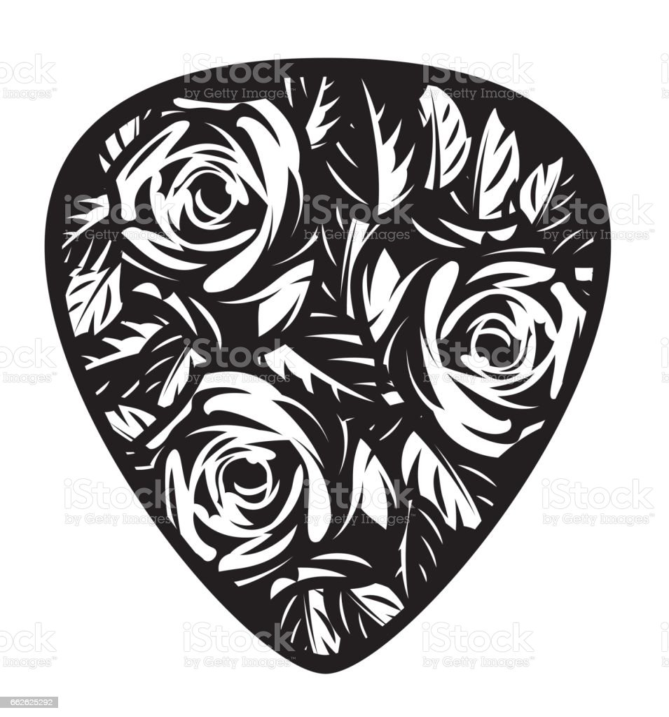 Color Vector Template For Design Plectrum With Rose And Leaves Stock