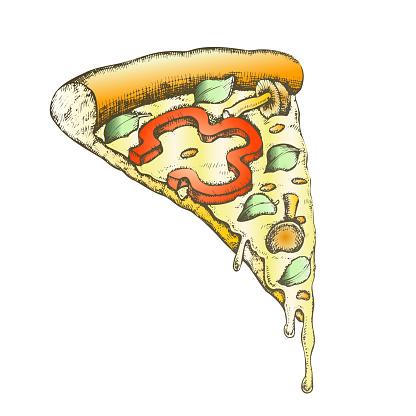 Color Vegetarian Italian Slice Pizza Hand Drawn Vector