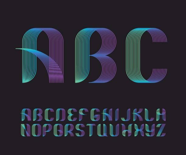 illustrations, cliparts, dessins animés et icônes de couleur vibrante gradient ligne géométrique latine police, brillant graphique décoratif coloré type. - polices ligne fine